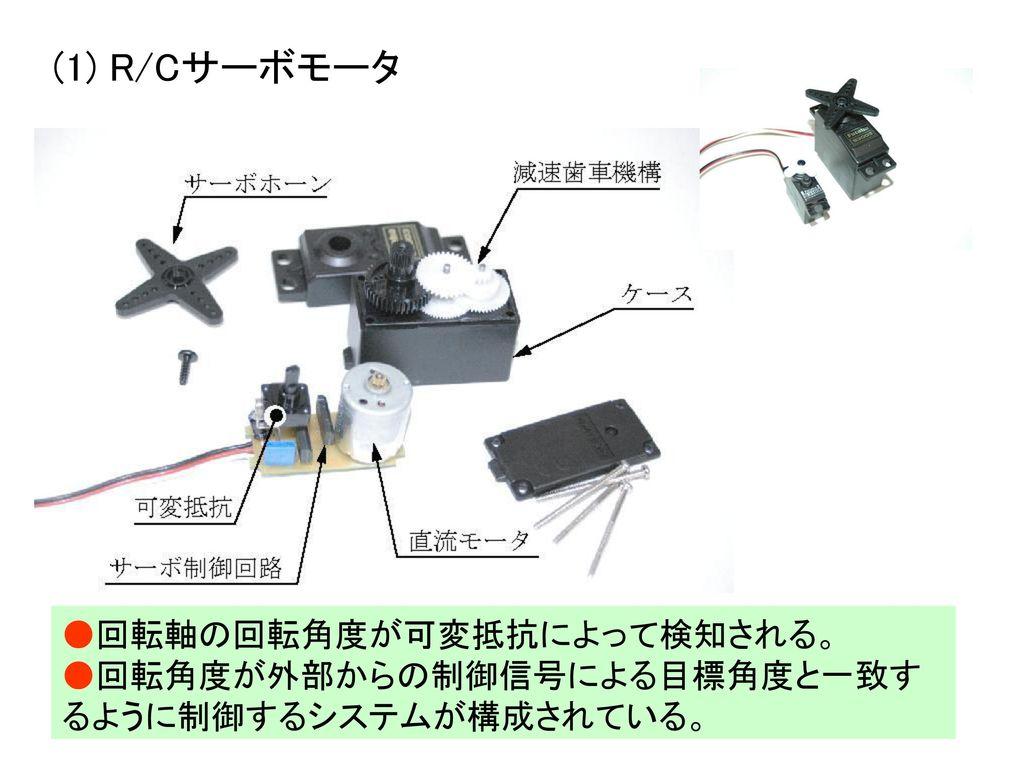(1) R/Cサーボモータ ●回転軸の回転角度が可変抵抗によって検知される。