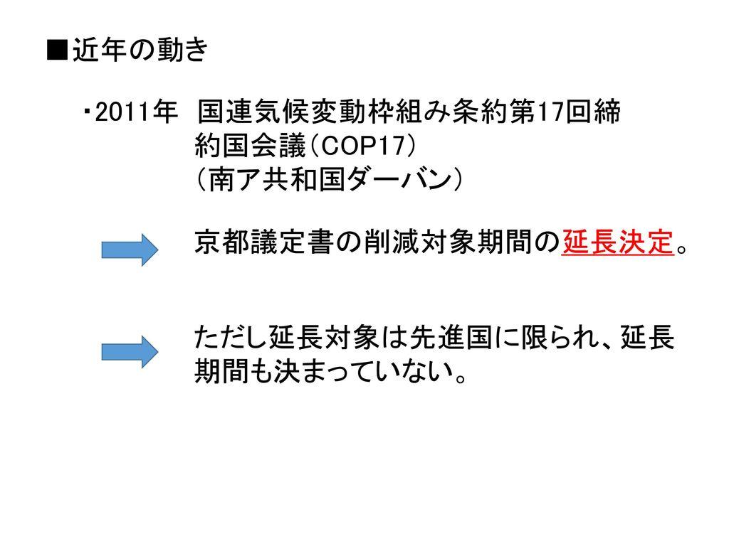 ■近年の動き ・2011年 国連気候変動枠組み条約第17回締.