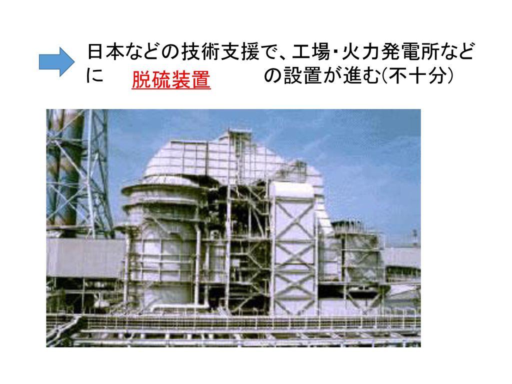 日本などの技術支援で、工場・火力発電所などに の設置が進む(不十分)