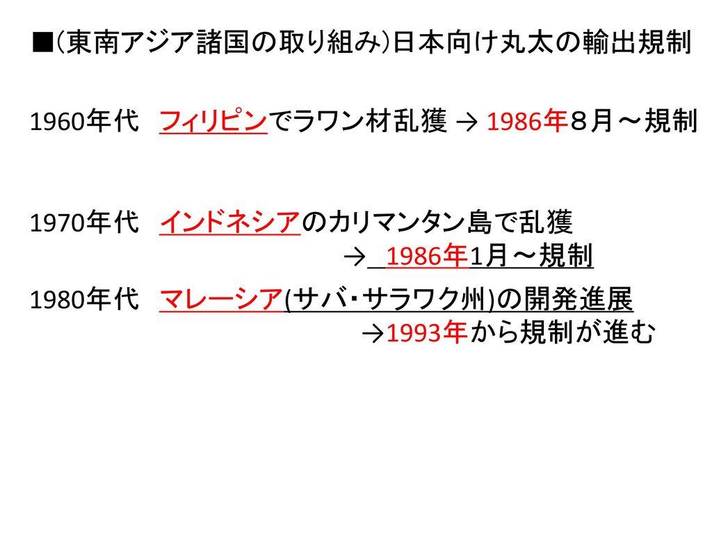 ■(東南アジア諸国の取り組み)日本向け丸太の輸出規制
