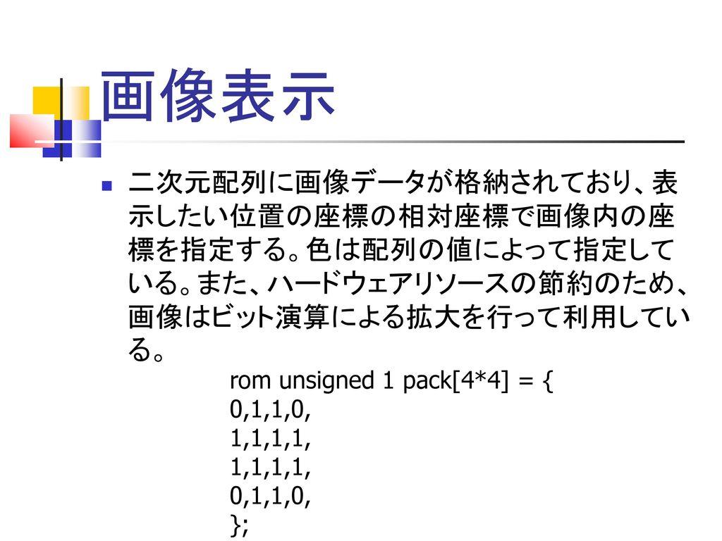 画像表示 二次元配列に画像データが格納されており、表 示したい位置の座標の相対座標で画像内の座 標を指定する。色は配列の値によって指定して いる。また、ハードウェアリソースの節約のため、 画像はビット演算による拡大を行って利用してい る。