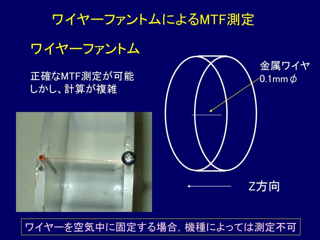 ワイヤーファントムによるMTF測定 ワイヤーファントム Z方向 正確なMTF測定が可能 金属ワイヤ しかし、計算が複雑 0.1mmφ
