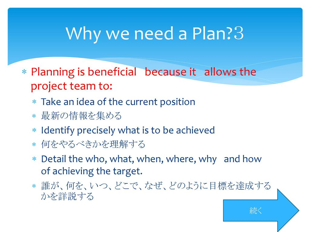 Why we need a Plan 3 Planning is beneficial because it allows the project team to: Take an idea of the current position.