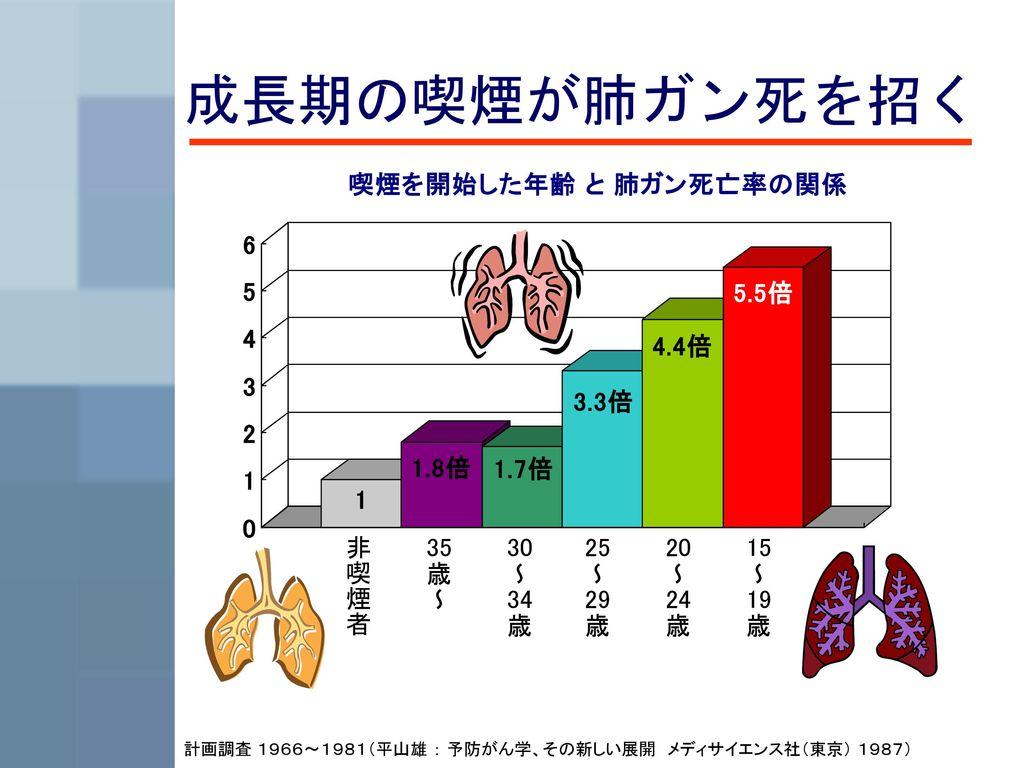 成長期の喫煙が肺ガン死を招く 非喫煙者 35歳~ 30~34歳 25~29歳 20~24歳 15~19歳