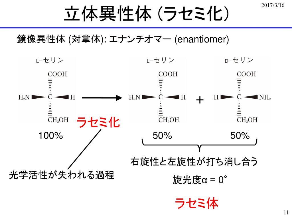 立体異性体 (ラセミ化) + ラセミ化 ラセミ体 鏡像異性体 (対掌体): エナンチオマー (enantiomer) 100% 50%