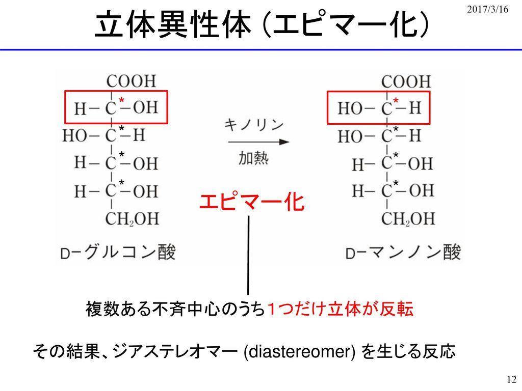 立体異性体 (エピマー化) エピマー化 * * * * * * * * 複数ある不斉中心のうち1つだけ立体が反転