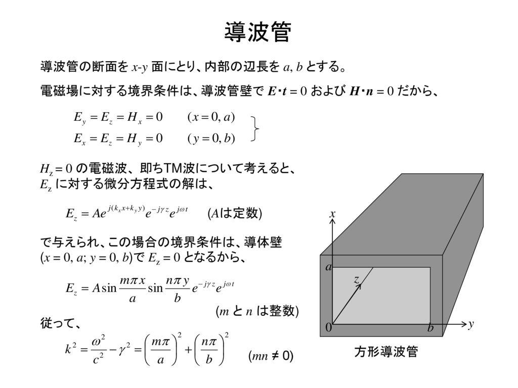 導波管 導波管の断面を x-y 面にとり、内部の辺長を a, b とする。
