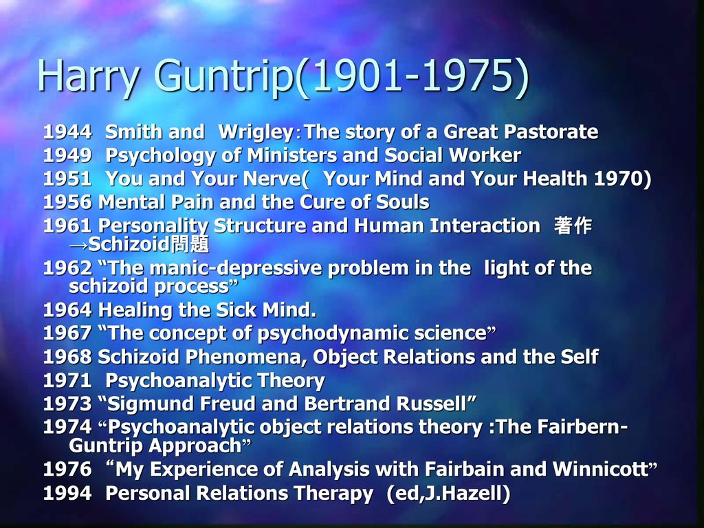 Harry Guntrip( ) 1944 Smith and Wrigley:The story of a Great Pastorate Psychology of Ministers and Social Worker.