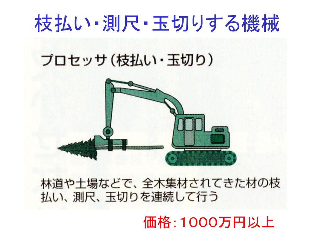 枝払い・測尺・玉切りする機械 価格:1000万円以上