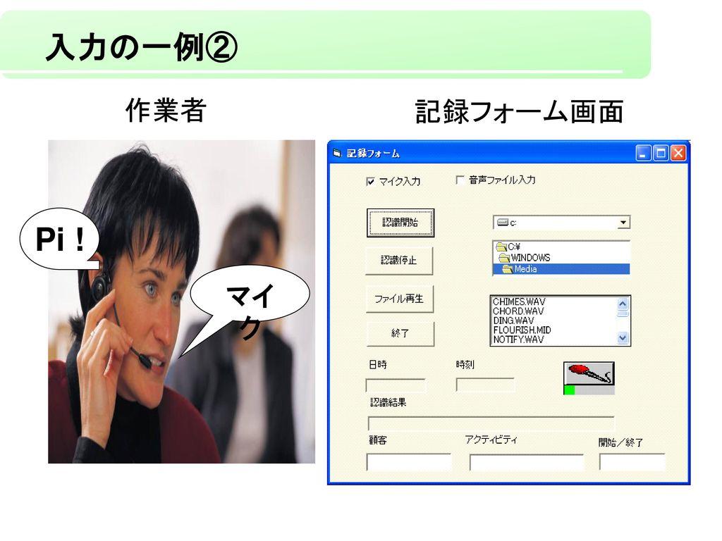 入力の一例② Pi ! 作業者 記録フォーム画面 マイク 制御用単語として設定してある「マイク」を発声することで、ビープ音が一度鳴ります。
