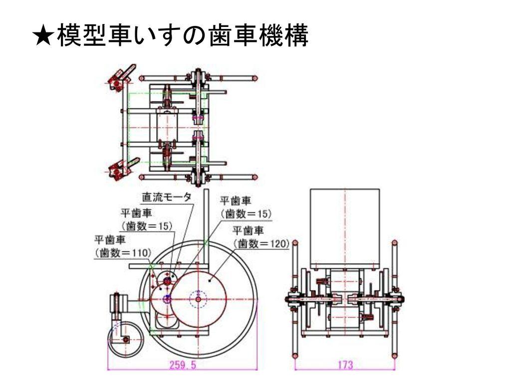 ★模型車いすの歯車機構