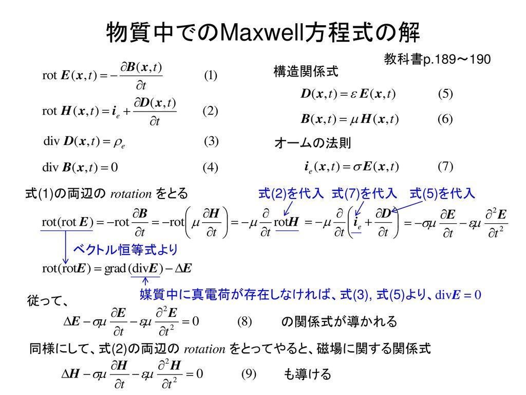 物質中でのMaxwell方程式の解 教科書p.189~190 構造関係式 オームの法則 式(1)の両辺の rotation をとる