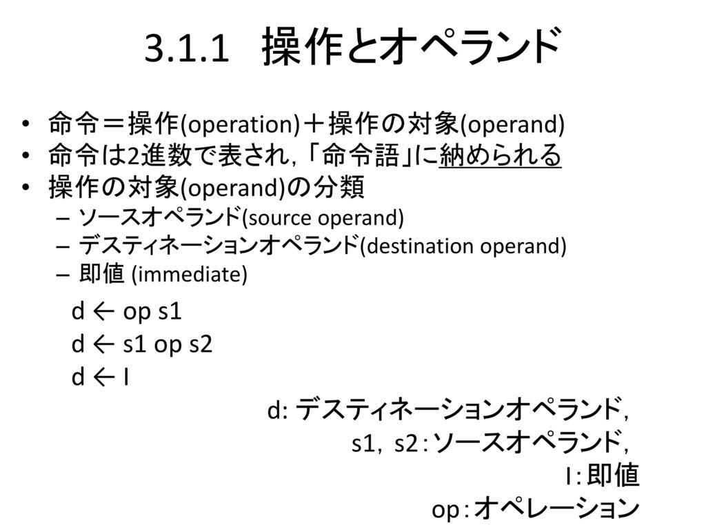 3.1.1 操作とオペランド d ← op s1 d ← s1 op s2 d ← I d: デスティネーションオペランド,