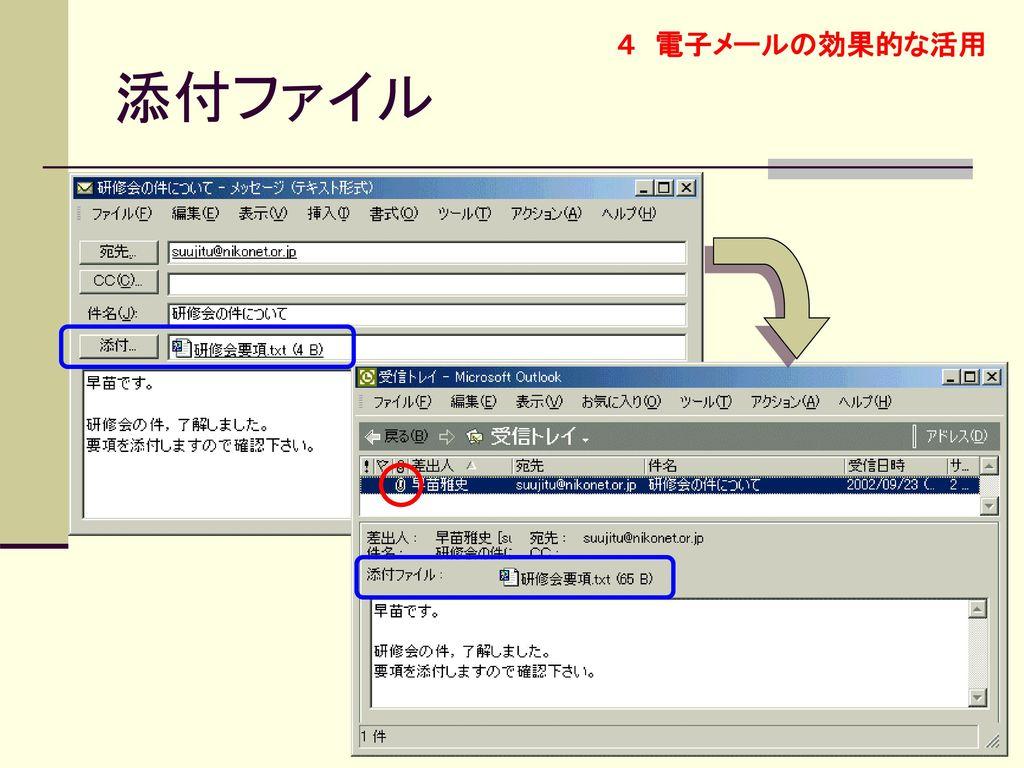 4 電子メールの効果的な活用 添付ファイル