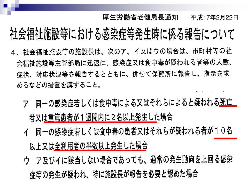 厚生労働省老健局長通知 平成17年2月22日