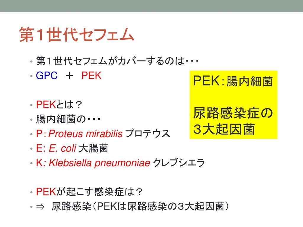 第1世代セフェム PEK:腸内細菌 尿路感染症の 3大起因菌 第1世代セフェムがカバーするのは・・・ GPC + PEK PEKとは?