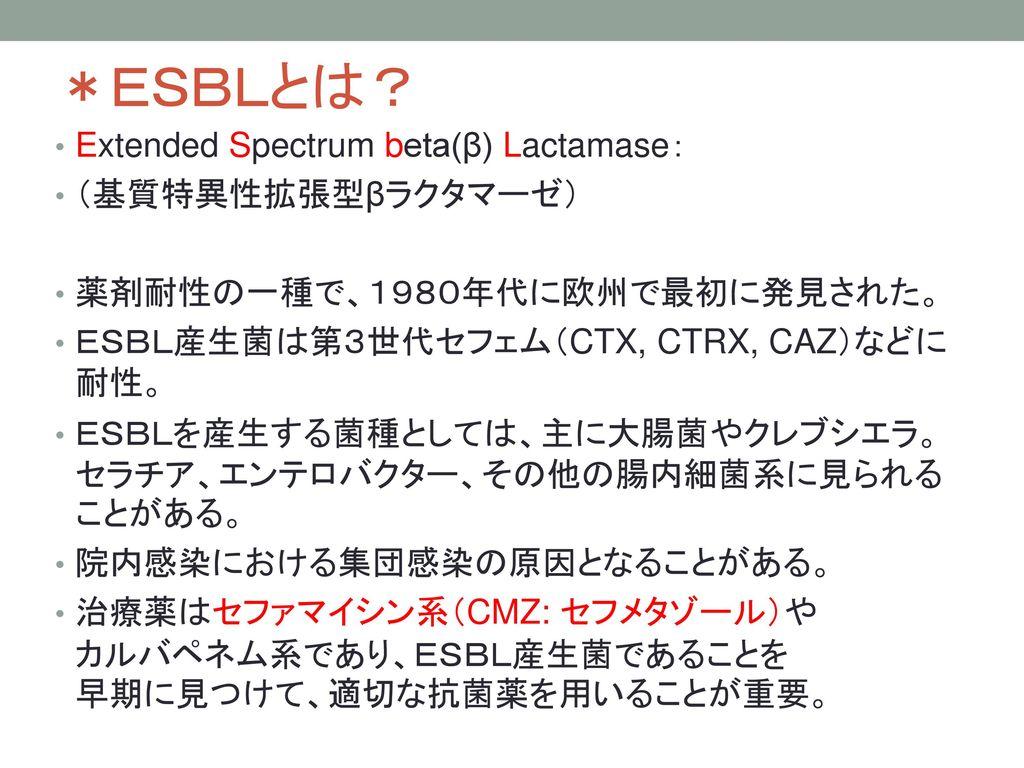*ESBLとは? Extended Spectrum beta(β) Lactamase: (基質特異性拡張型βラクタマーゼ)