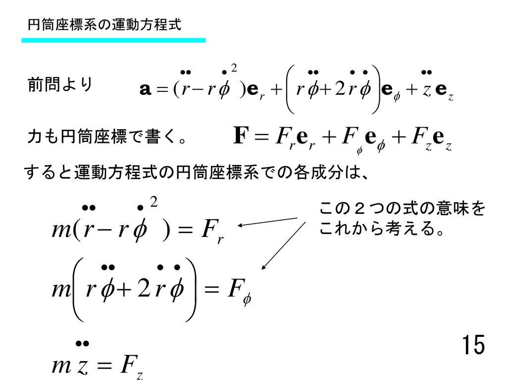 すると運動方程式の円筒座標系での各成分は、