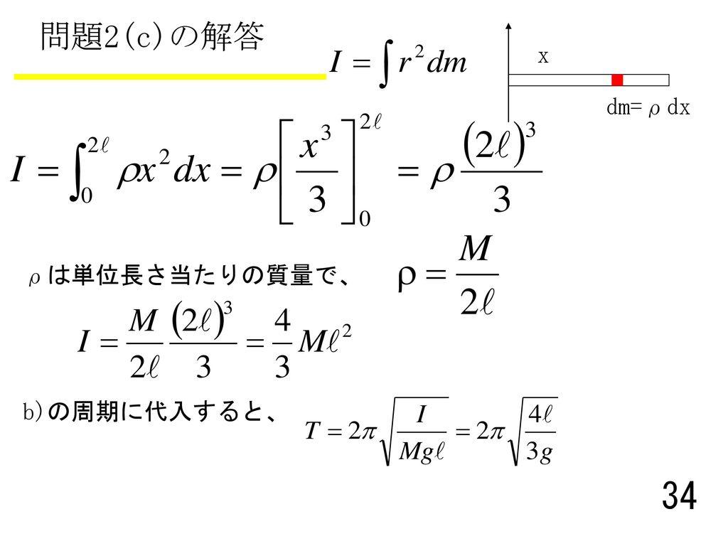 問題2(c)の解答 x dm=ρdx ρは単位長さ当たりの質量で、 b)の周期に代入すると、