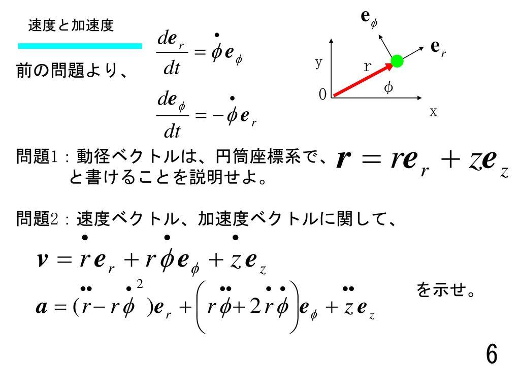 問題2:速度ベクトル、加速度ベクトルに関して、