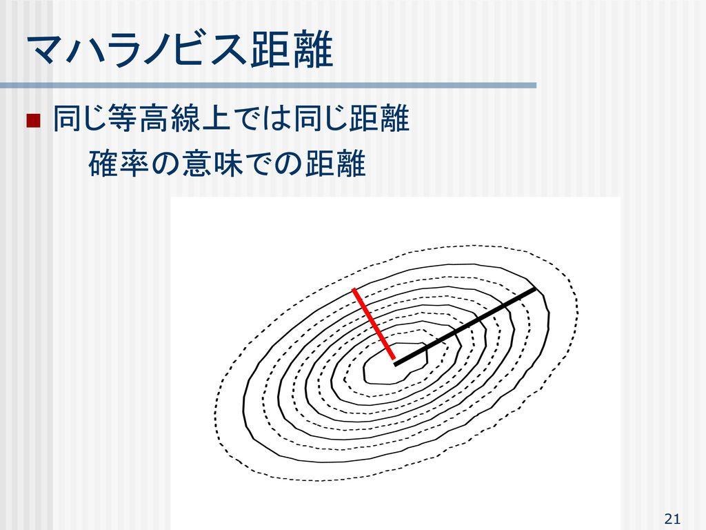 マハラノビス距離 同じ等高線上では同じ距離 確率の意味での距離