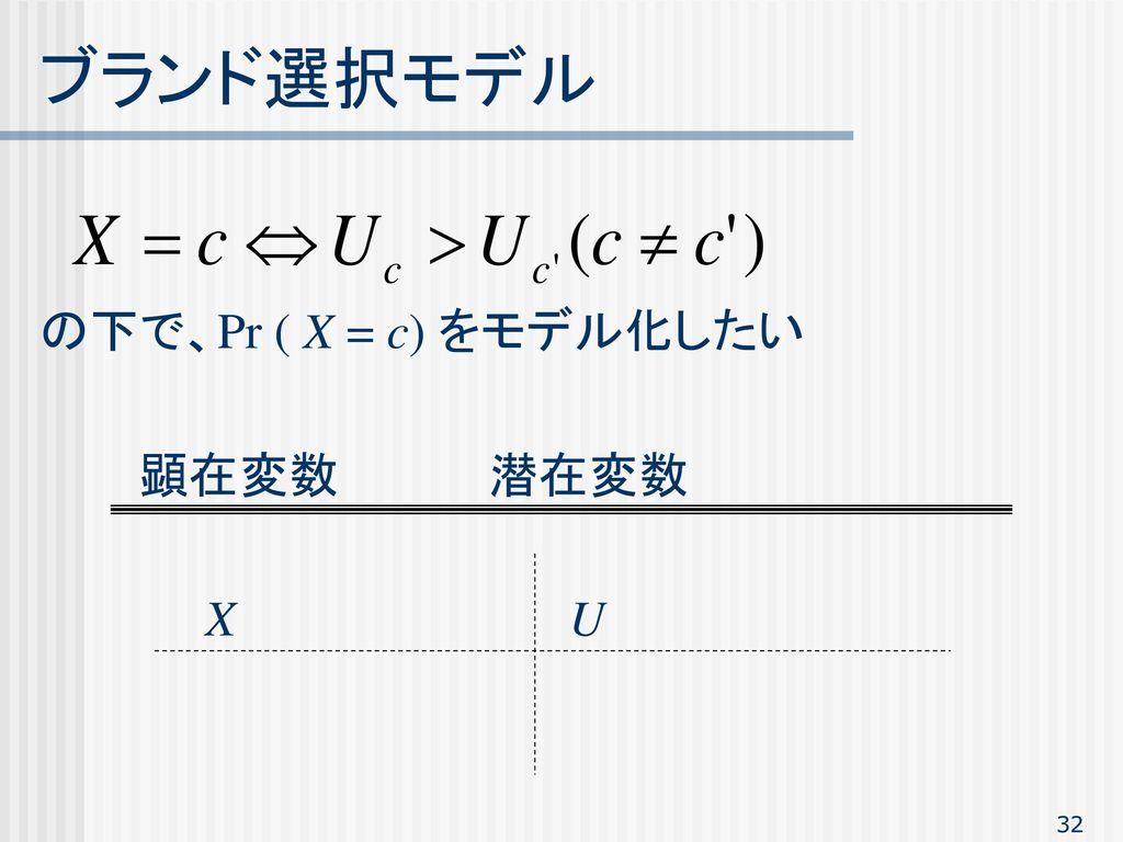 ブランド選択モデル の下で、Pr ( X = c) をモデル化したい 顕在変数 潜在変数 X U