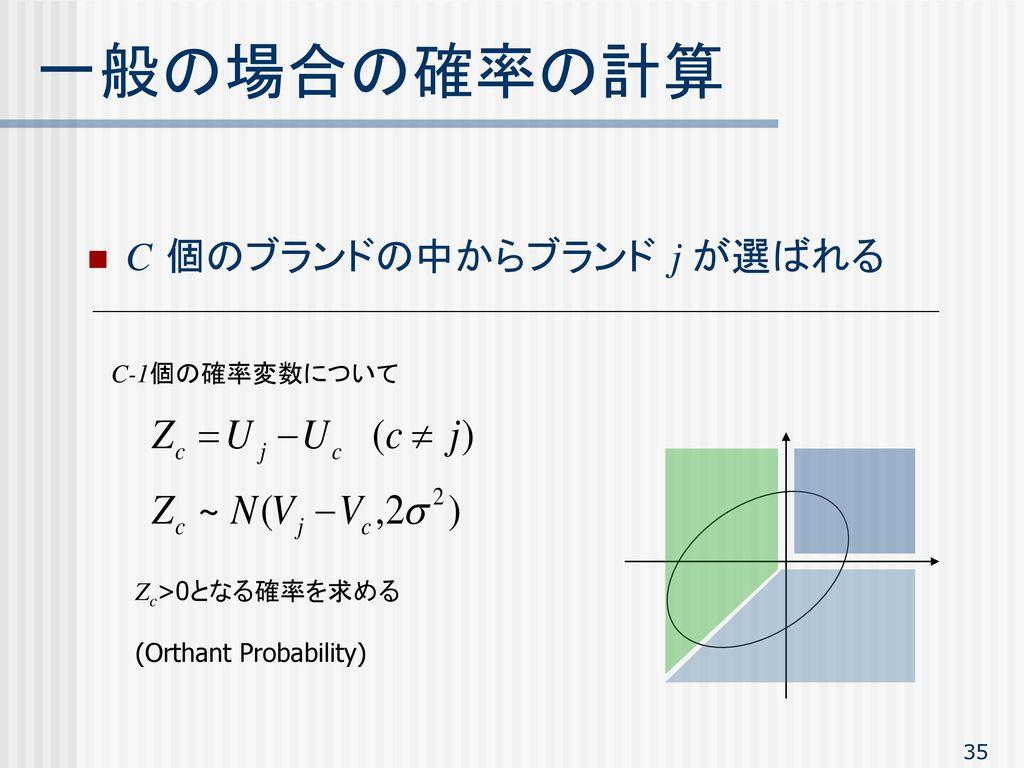 一般の場合の確率の計算 C 個のブランドの中からブランド j が選ばれる C-1個の確率変数について Zc>0となる確率を求める