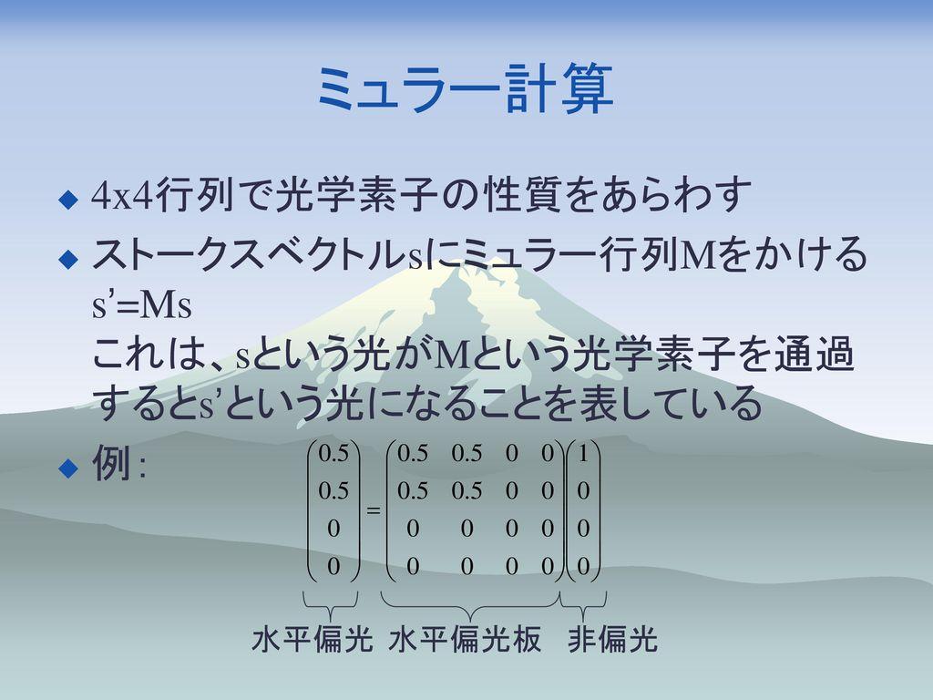ミュラー計算 4x4行列で光学素子の性質をあらわす