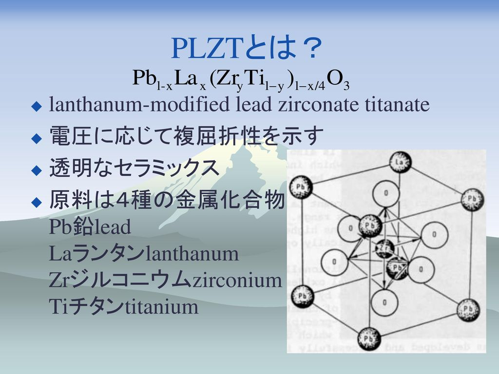 PLZTとは? lanthanum-modified lead zirconate titanate 電圧に応じて複屈折性を示す
