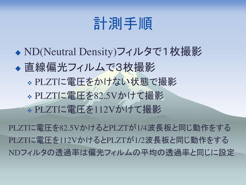 計測手順 ND(Neutral Density)フィルタで1枚撮影 直線偏光フィルムで3枚撮影 PLZTに電圧をかけない状態で撮影