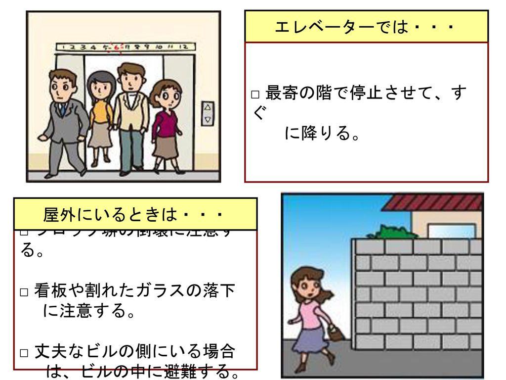 エレベーターでは・・・ □ 最寄の階で停止させて、すぐ に降りる。 屋外にいるときは・・・ □ ブロック塀の倒壊に注意する。 □ 看板や割れたガラスの落下. に注意する。 □ 丈夫なビルの側にいる場合.