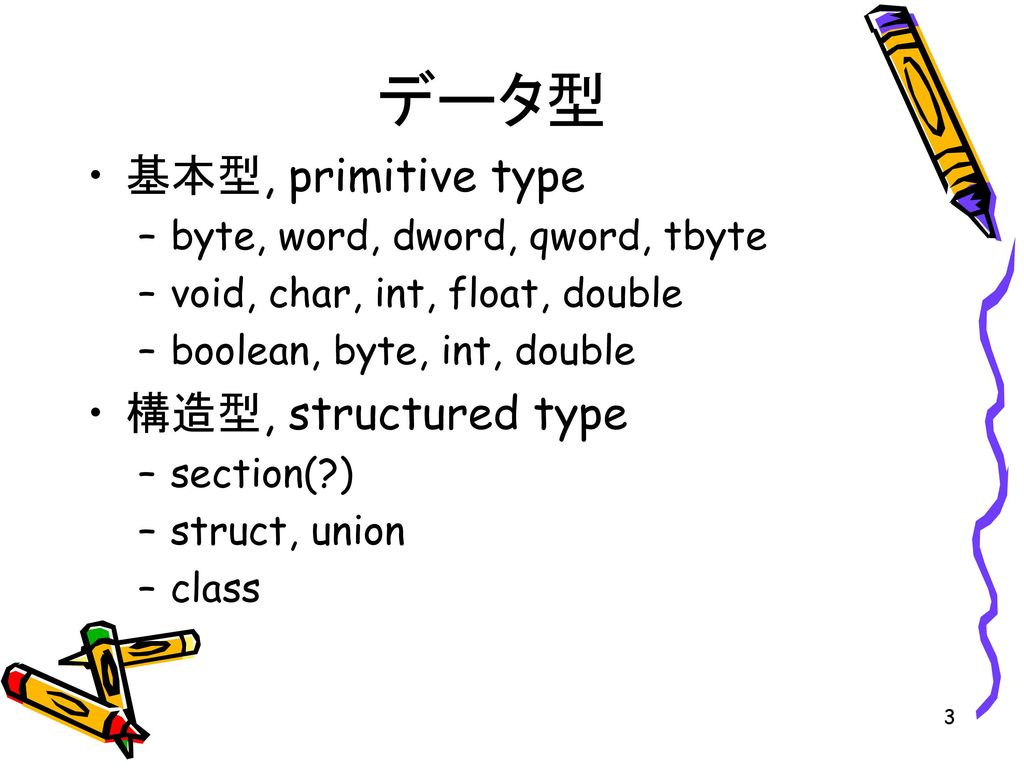 データ型 基本型, primitive type 構造型, structured type