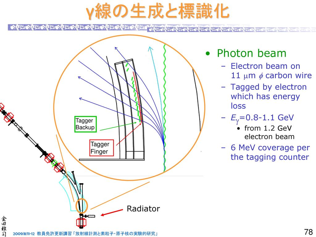 γ線の生成と標識化 Photon beam Electron beam on 11 mm f carbon wire