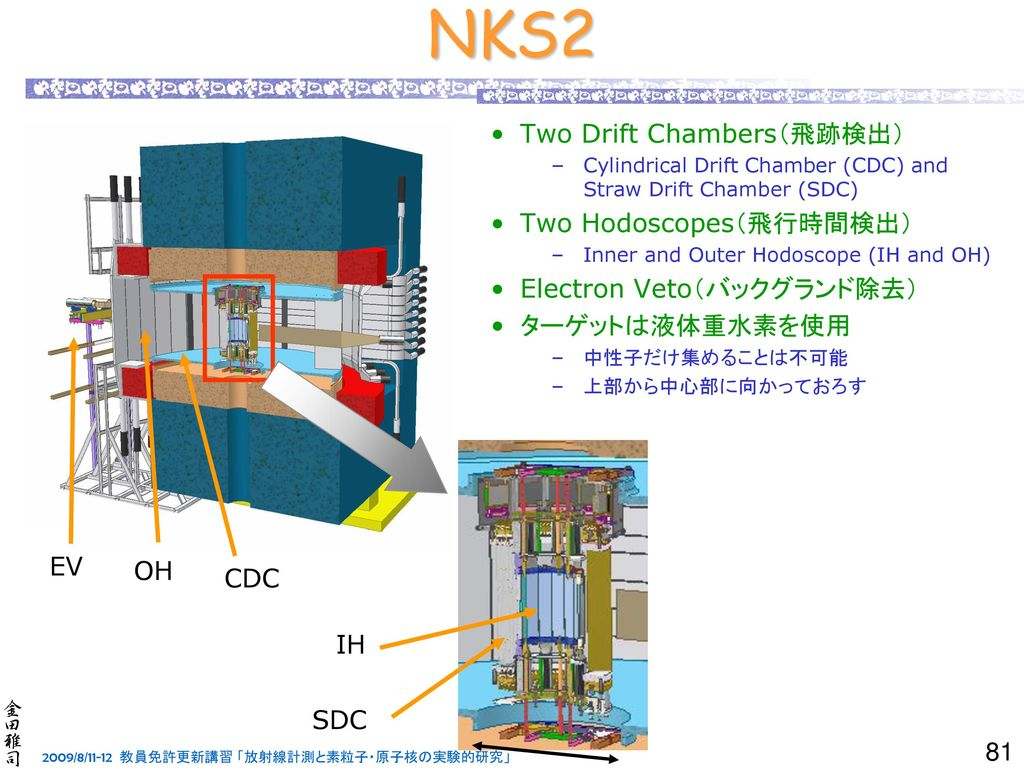 NKS2 ああ Two Drift Chambers(飛跡検出) Two Hodoscopes(飛行時間検出)