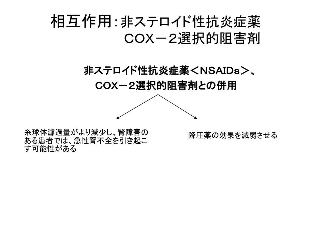 相互作用:非ステロイド性抗炎症薬 COX-2選択的阻害剤