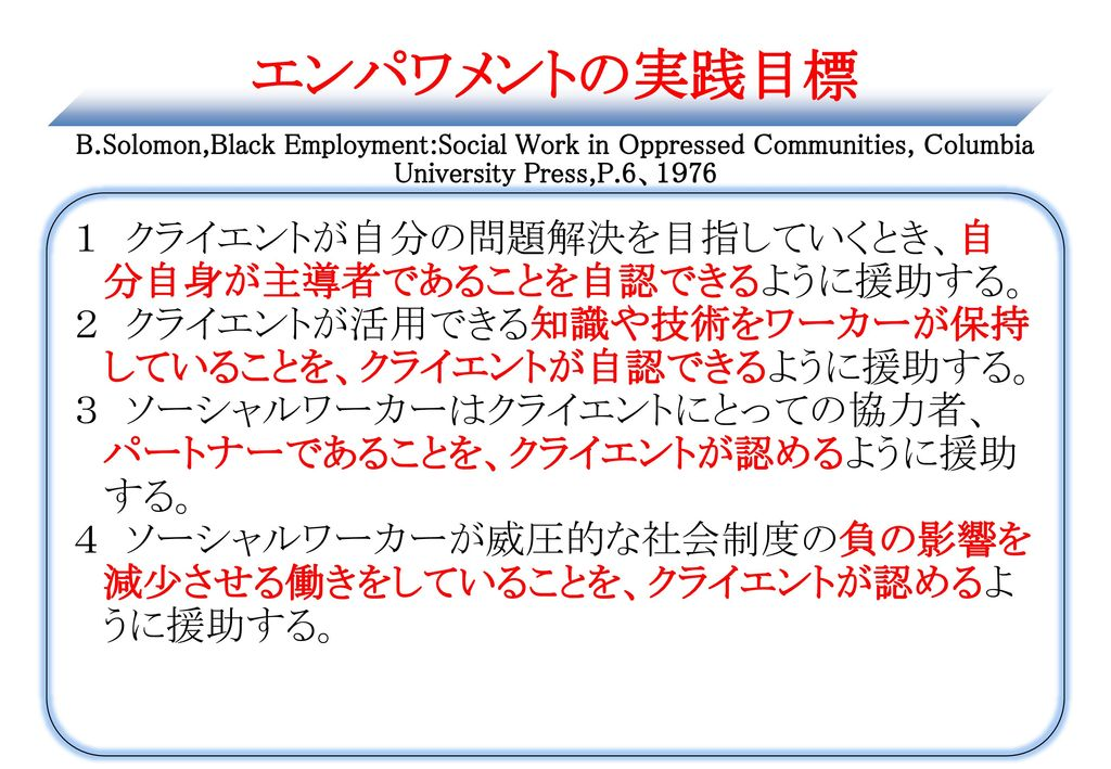 エンパワメントの実践目標 B.Solomon,Black Employment:Social Work in Oppressed Communities, Columbia University Press,P.6、1976
