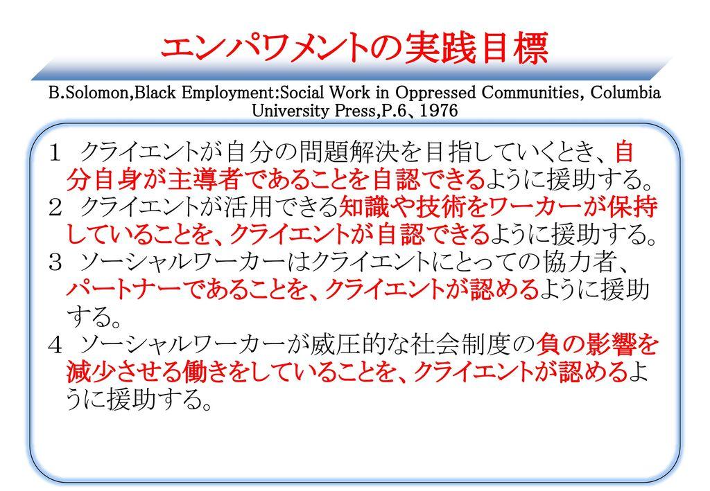 エンパワメントの実践目標 B.Solomon,Black Employment:Social Work in Oppressed Communities, Columbia University Press,P.6、1976