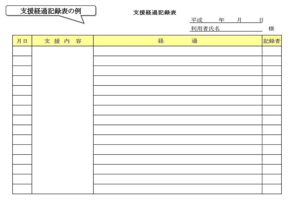 支援経過記録表の例