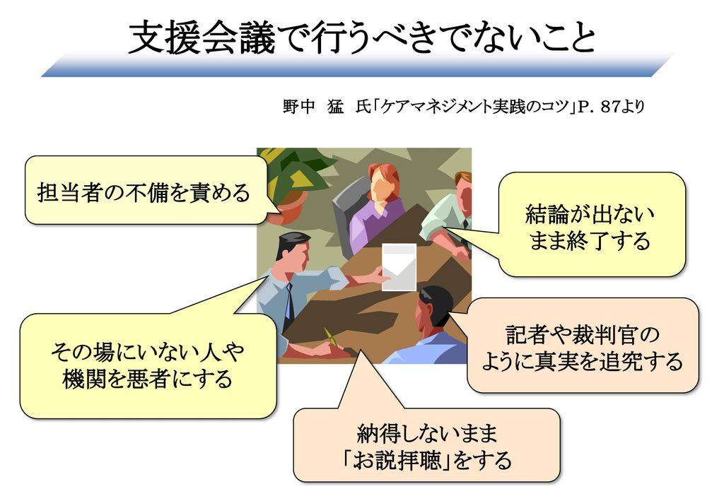 野中 猛 氏「ケアマネジメント実践のコツ」P.87より