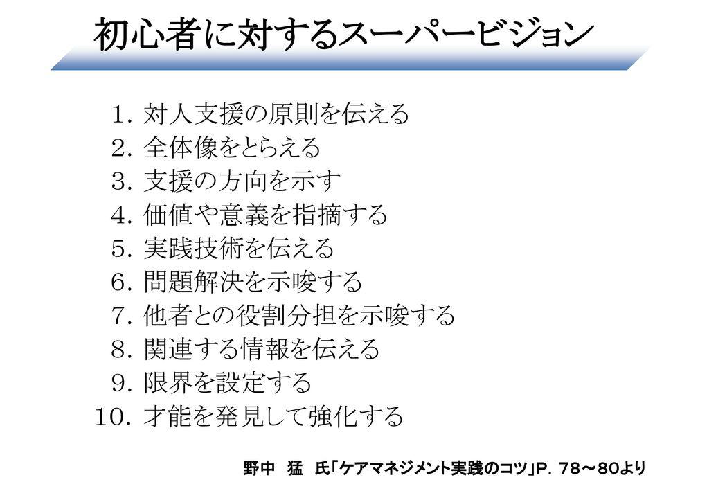 野中 猛 氏「ケアマネジメント実践のコツ」P.78~80より