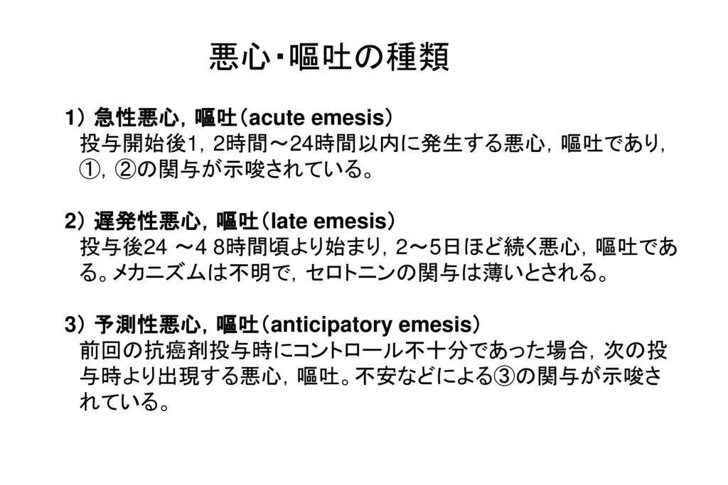 悪心・嘔吐の種類 1) 急性悪心,嘔吐(acute emesis) 投与開始後1,2時間~24時間以内に発生する悪心,嘔吐であり,