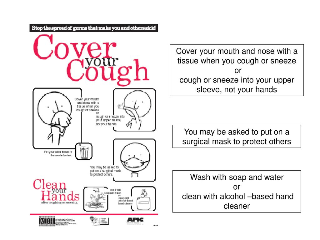 Cover your mouth and nose with a tissue when you cough or sneeze or