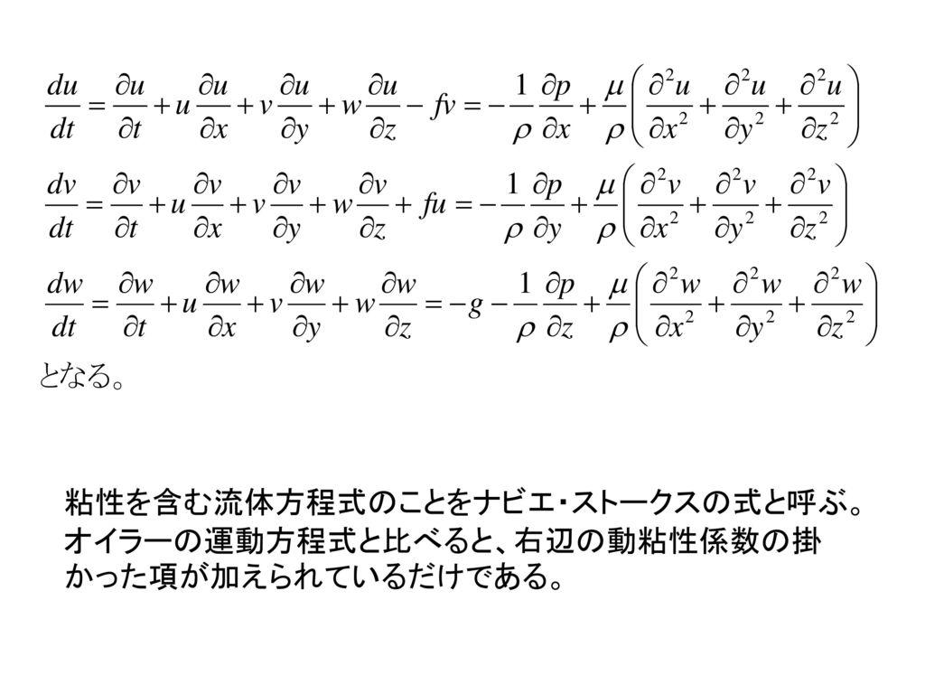 粘性を含む流体方程式のことをナビエ・ストークスの式と呼ぶ。