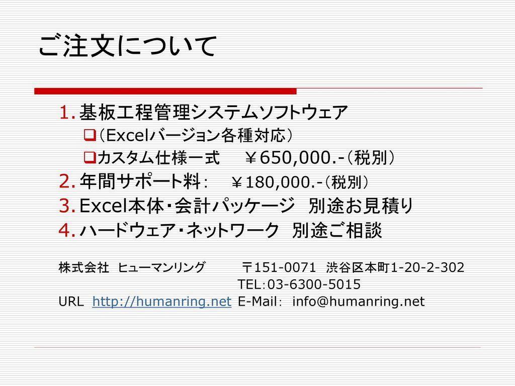ご注文について 基板工程管理システムソフトウェア 年間サポート料: ¥180,000.-(税別)