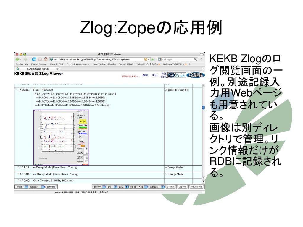 Zlog:Zopeの応用例 KEKB Zlogのログ閲覧画面の一例。別途記録入力用Webページも用意されている。