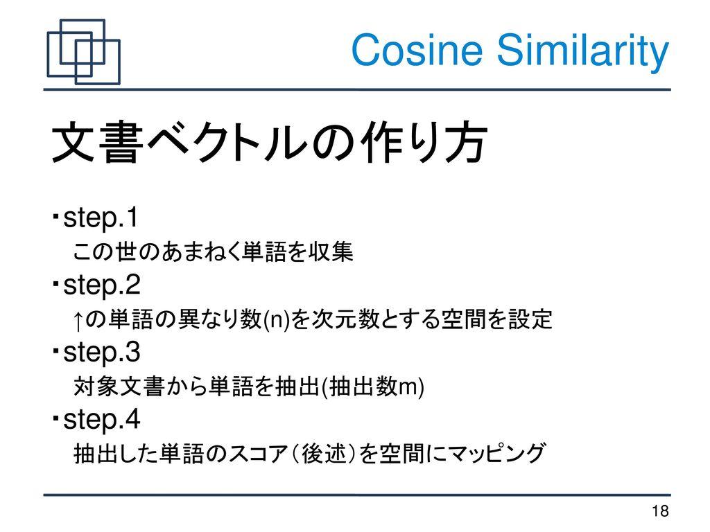 文書ベクトルの作り方 Cosine Similarity ・step.1 この世のあまねく単語を収集 ・step.2