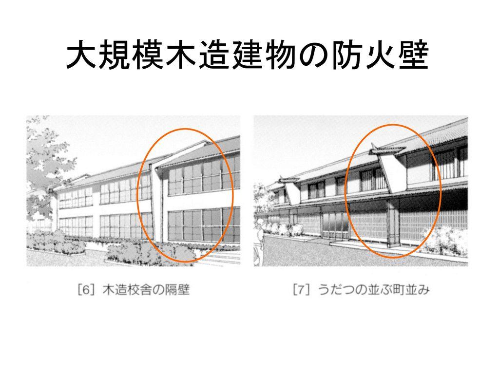 大規模木造建物の防火壁