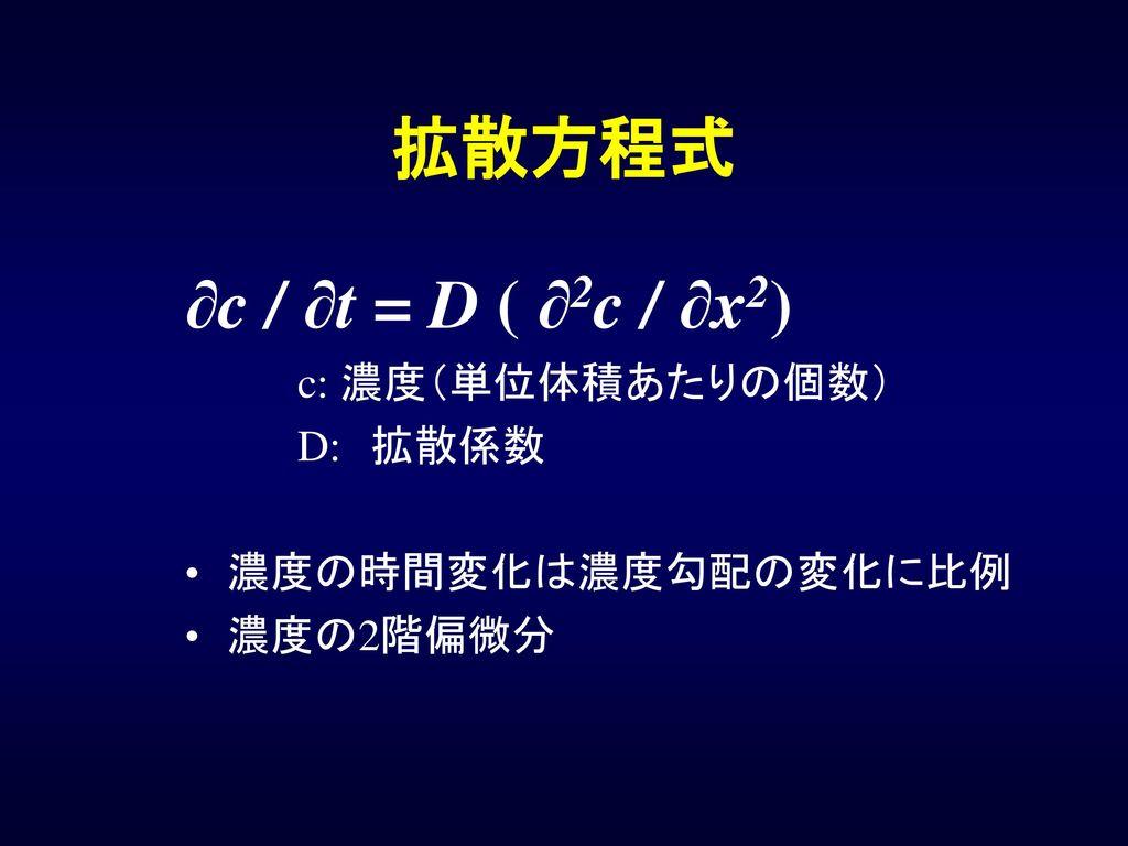 拡散方程式 ∂c / ∂t = D ( ∂2c / ∂x2) c: 濃度(単位体積あたりの個数) D: 拡散係数