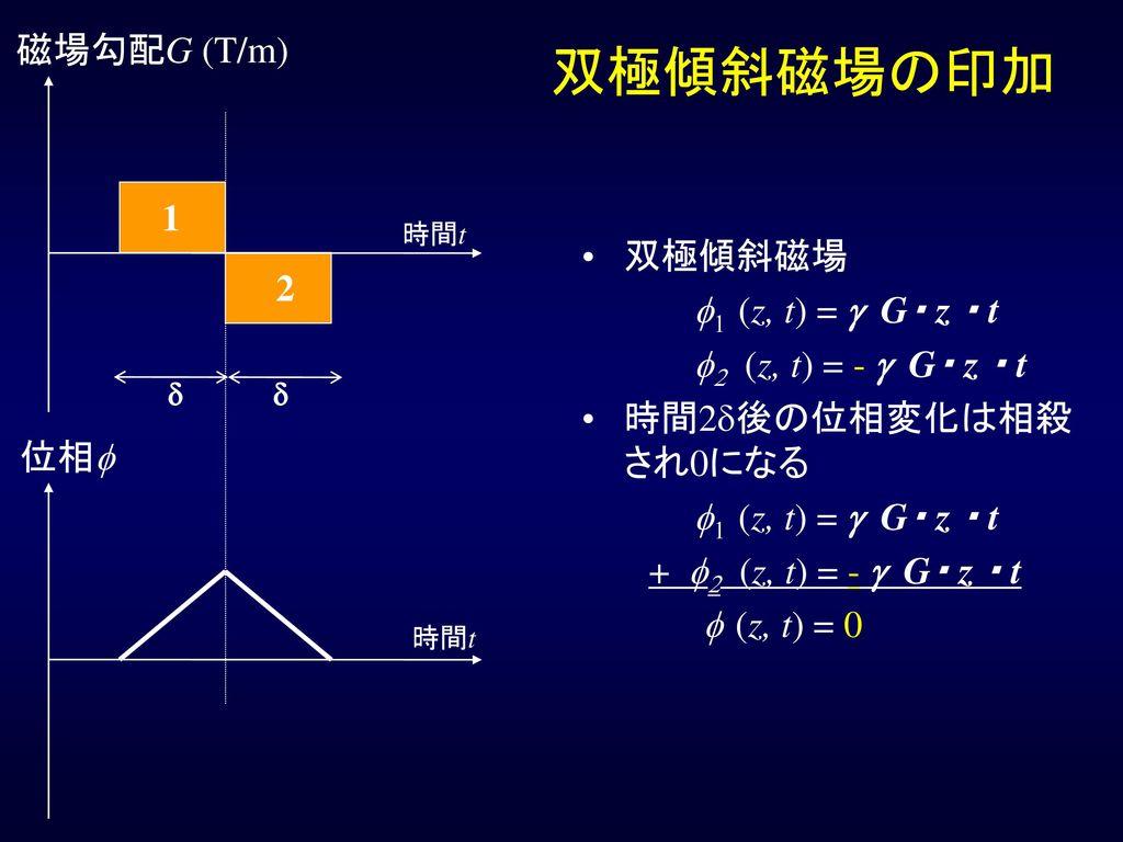 双極傾斜磁場の印加 磁場勾配G (T/m) 1 双極傾斜磁場 f1 (z, t) = g G・ z ・ t 2