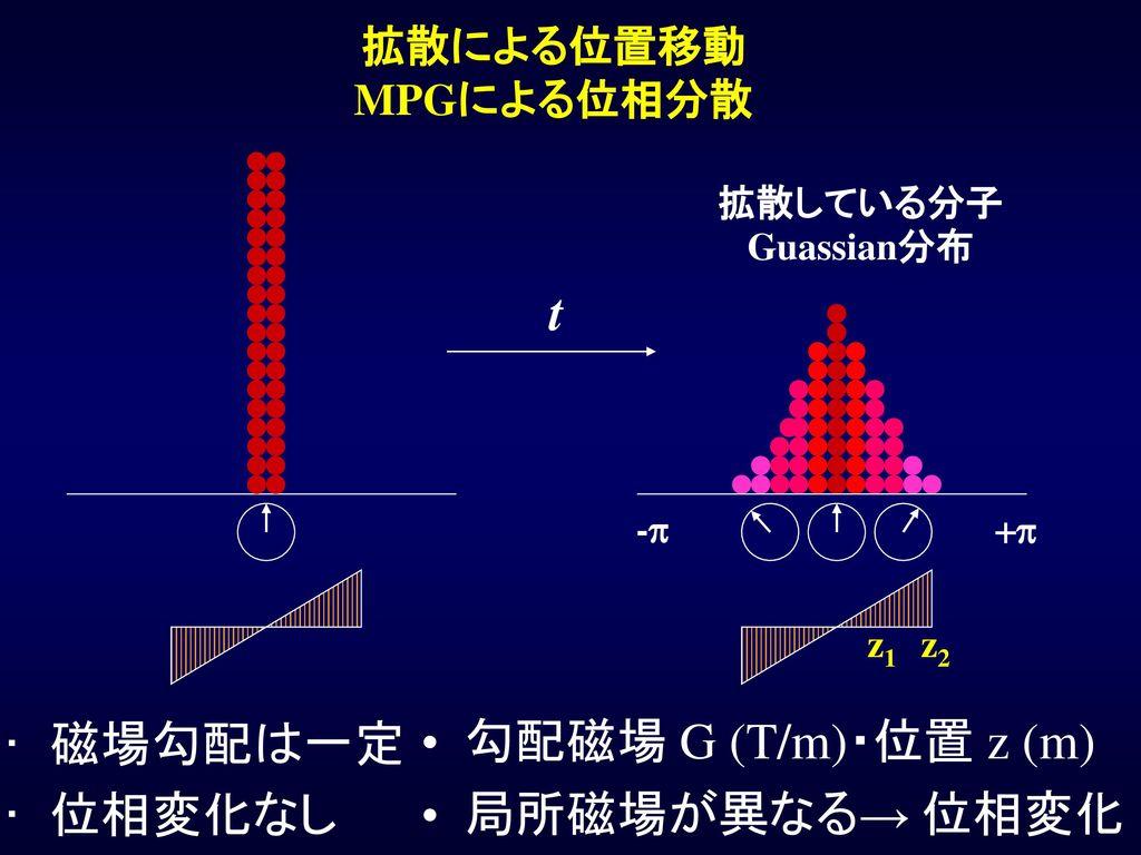 t 磁場勾配は一定 位相変化なし 勾配磁場 G (T/m)・位置 z (m) 局所磁場が異なる→ 位相変化